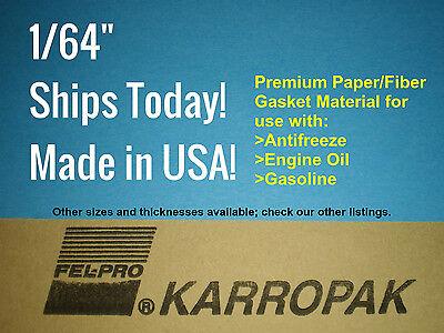 """1/64""""x4""""x9"""" Gasket Material gas coolant oil antifreeze Fel-Pro KARROPAK Sheet"""