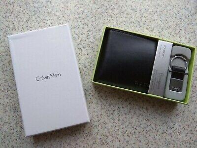 Geschenkbox Calvin Klein CK Herren Leder Geldbörse SCHWARZ + Schlüsselanhänger