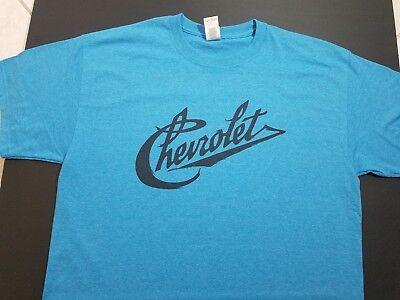 NEW CHEVY CHEVROLET VINTAGE script T-SHIRT V8  logo emblem nos conv logo c10. (Bench Radiators)