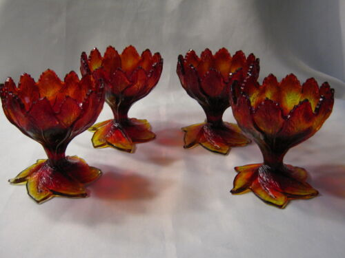 4 Rare Vintage Summit Degenhart Art Glass Amberina Acanthus Leaf Compote Bowl