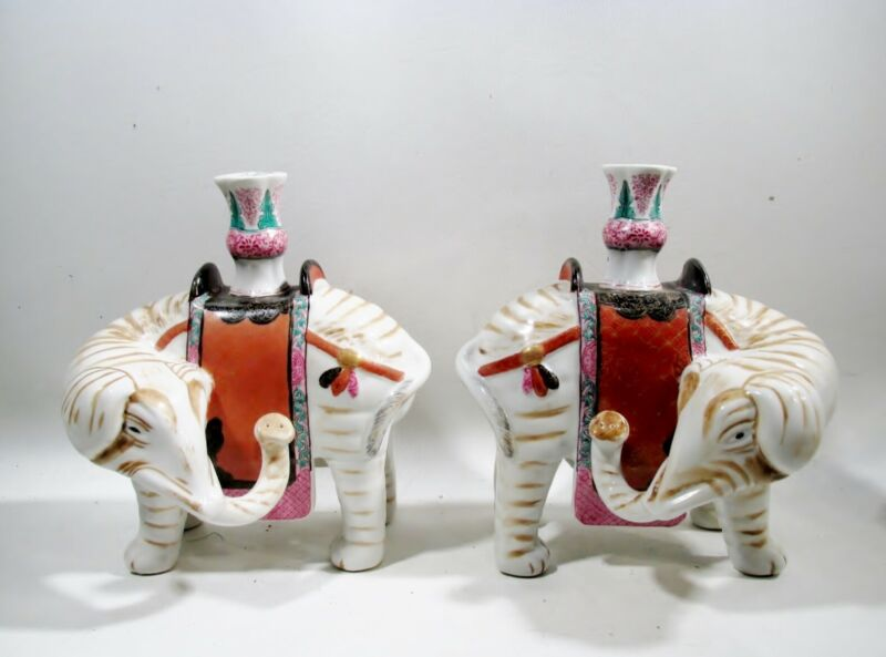 Vtg Mottahedeh Winterthur Chinese Famille Rose Pair Elephant Candle Holders