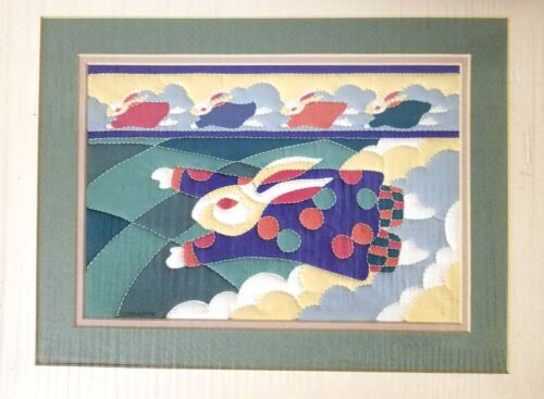 ALICE WOODROME SIGNED QUILTED SERIGRAPH FLYING RABBIT BUNNY ORIGINAL ART NEW