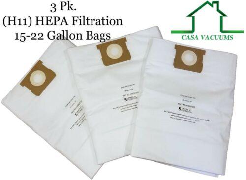 CASA VACUUMS Replacement for Shop-Vac 15-22 Gallon HEPA Bags 9067300 J 9066300 G