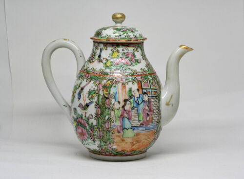 Anitique Chinese Export Porcelain Rose Medallion Teapot - 8 Inches tall -