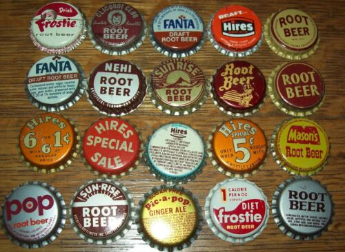 Lot of 20 different Vintage Unused Soda Pop Bottle Caps All Root Beer Hires Nehi