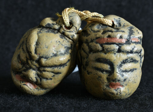 Japanese Old Clay Bell Dorei 2002 : design Two faces