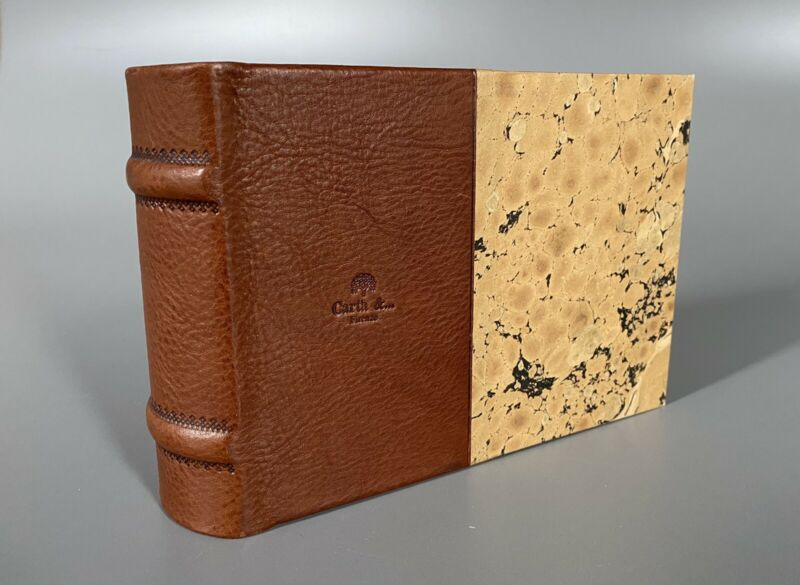 Vintage CARTA & Handmade Leather / Cork Artisan Paper Photo Album - ITALY