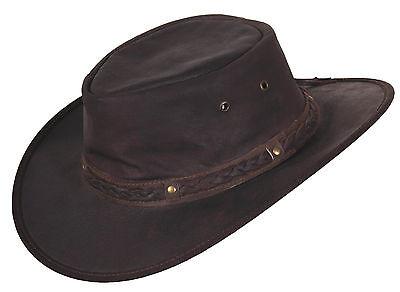 Hut Australien (Lederhut Knautschbar Westernhut Hut Cowboyhut Australien Lederhüte Braun  )