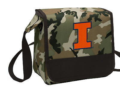 Illini Lunch (Illinois Camo Lunch Bag ILLINI Cooler Lunchbox Bags COOL MESSENGER BAG)