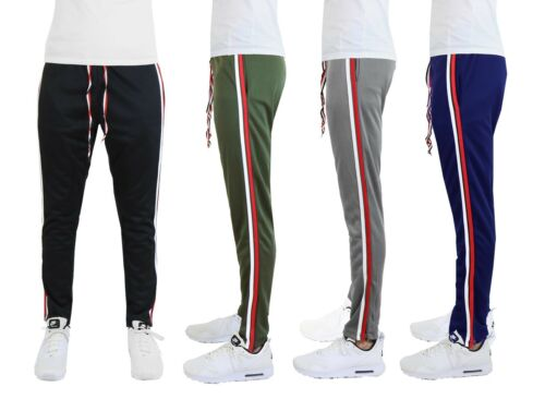 Mens Track Jogger Pants Moisture Wicking Stripe Running Workout Active Gym Nwt