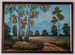 """H. Burns - Large Original Oil Painting on Canvas """"Country Scenes"""" Kogarah Rockdale Area Preview"""