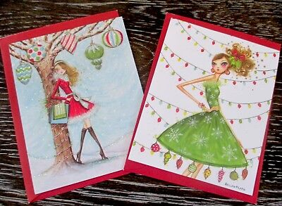 Papyrus Bella Pilar Holiday Christmas Girl Blank Greeting Note Cards Set of -