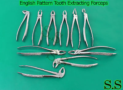 10 Pcs English Pattern Tooth Extracting Forceps Set Dental Instruments