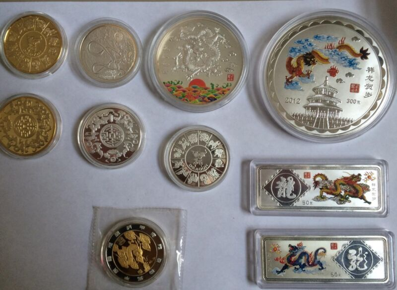 2012 China Silver Plated Year of the Dragon 12 Coin Set Nice!