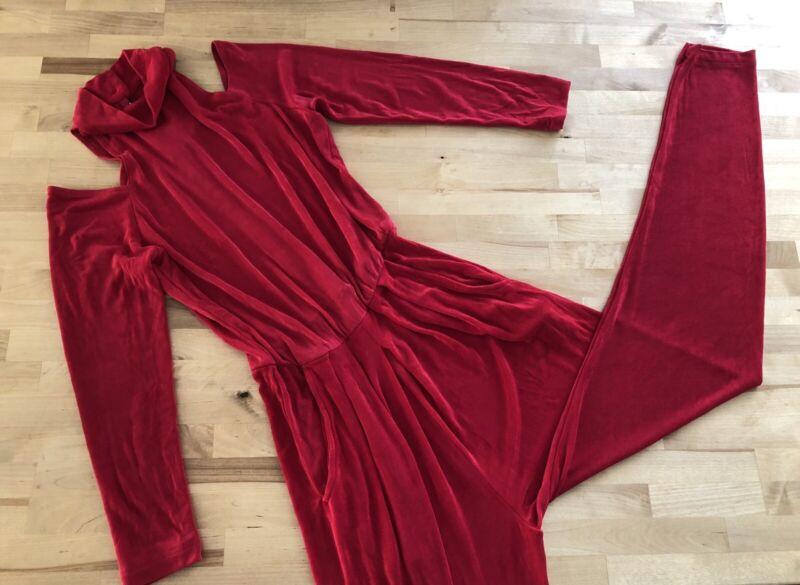 Vtg 70s/80s Avant Garde Slinky Stretch Jumpsuit Cold Shoulder Red PG COLLECTIONS
