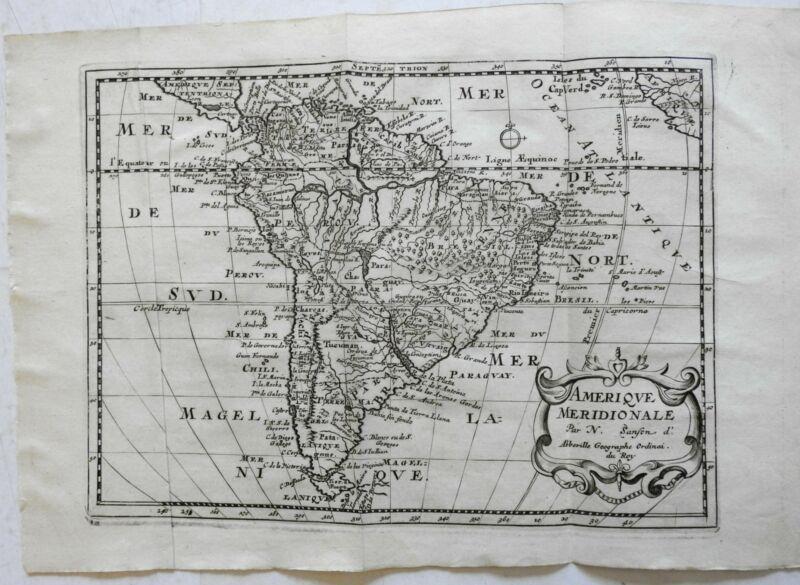 South America Continent European Colonies city of gold El Dorado 1683 Sanson map