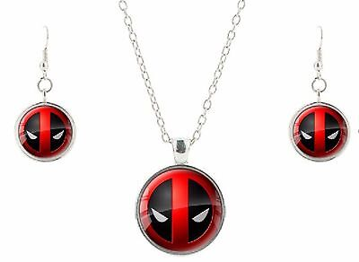Deadpool Symbol Glass Domed Pendant Necklace and Earring Set