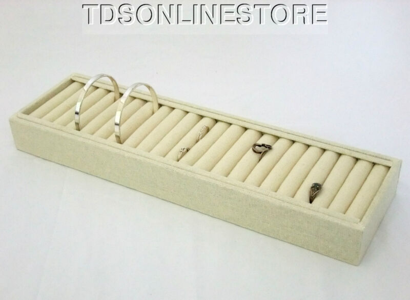 Large 21 Slot Bracelet And Cuff Storage/Display Covered In Linen