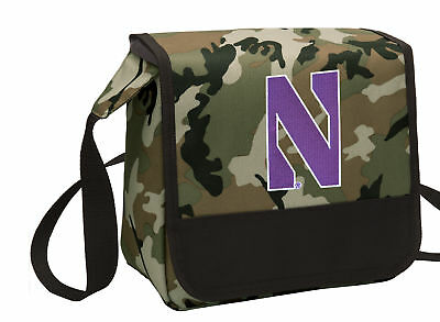 Northwestern Wildcats Lunch Bag CAMO Cooler Lunchbox Bags MESSENGER BAG STYLE! ()