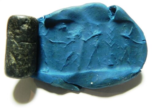 ZURQIEH - AS8592- ANCIENT HOLY LAND. CANAANITE STONE CYLINDER SEAL. 1400 B.C