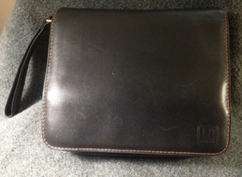 Dunhill Black Leather 5 Pipe Travel Case, Holds Tobacco and All Accoutrements