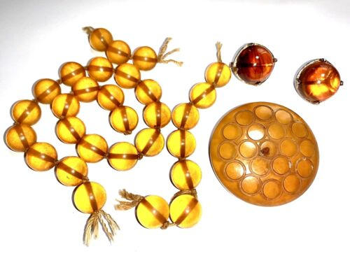 LOT: Bakelite Beads (29), Marbled Earrings, And Button - Authentic & Tested