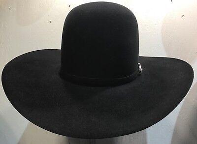 "New Fur Felt - New American Felt Hat 7X Black 4 1/2"" Brim Size 7 1/8 Fur Felt Cowboy Hat In box"