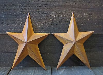 Lot of 2 Rusty Whimsical Tin Metal Barn Stars 8 inches Primitive Country Rusted