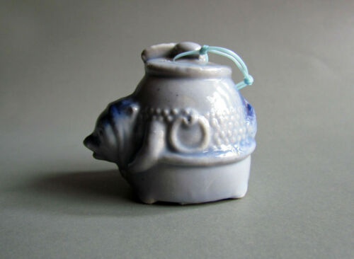 Blue Turtle Lucky Ornament Doll Bell Decor Old Vintage Used Ceramic Figurine