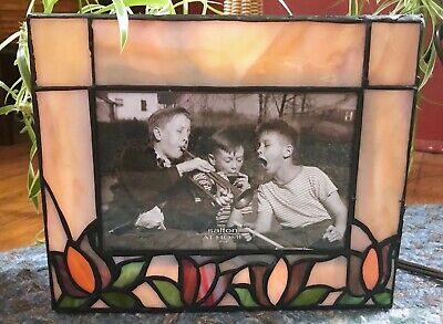 Whimsical Stained/Slag Glass Picture Frame Box W/ Light ~*Beautiful* ()