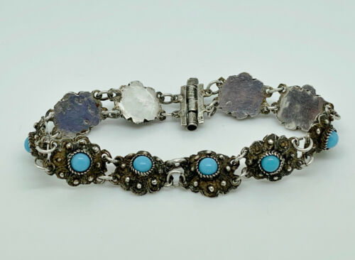 Lovely Antique Ottoman 900 Solid Silver Turquoise Byzantine Filigree Bracelet