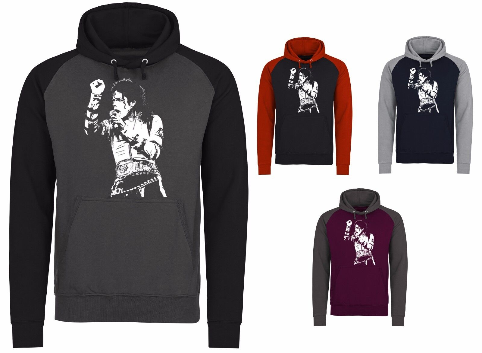 Michael Jackson King Of Pop Iconic Baseball 2 Colour Unisex Pullover Hoodie