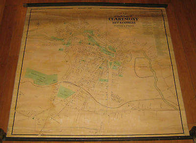 Antique 1873 'MAP of the Village of CLAREMONT NEW HAMPSHIRE' Sanford Everts MAP