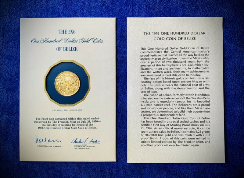 Belize 1976 Gold $100 Proof Coin Uncirculated Franklin Mint One Hundred KM# 52