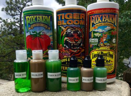 Fox Farm Trio: Grow Big, Big Bloom & Tiger Bloom 1oz or 2oz -- 3-bottle kit