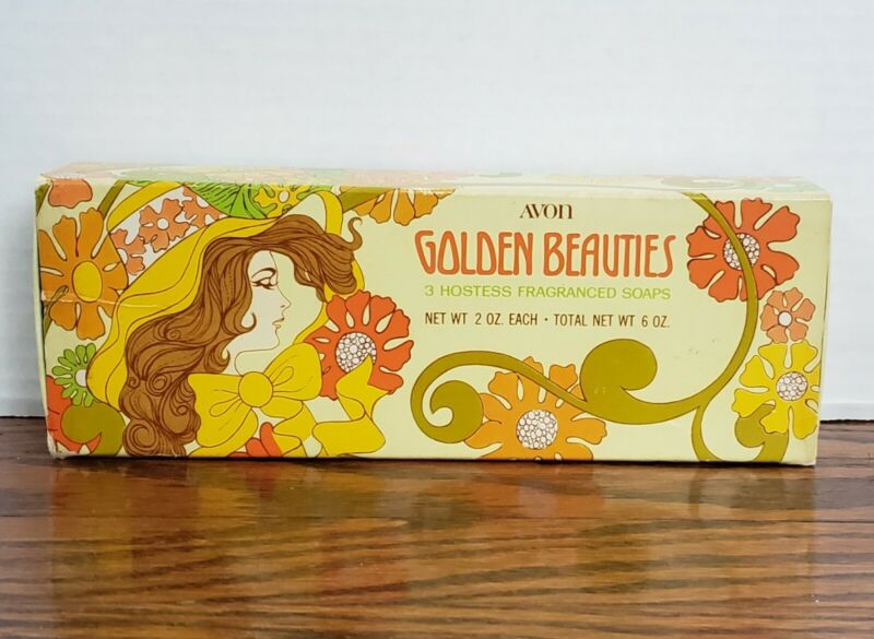 Vintage Avon Golden Beauties set of 3 fragranced hostess soaps NIB