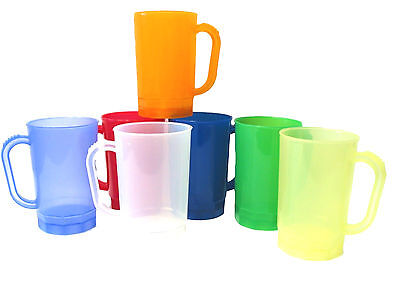 14 Plastic Beer Mugs Steins, Color Mix Translucent, Size 1 Pint, Made America*
