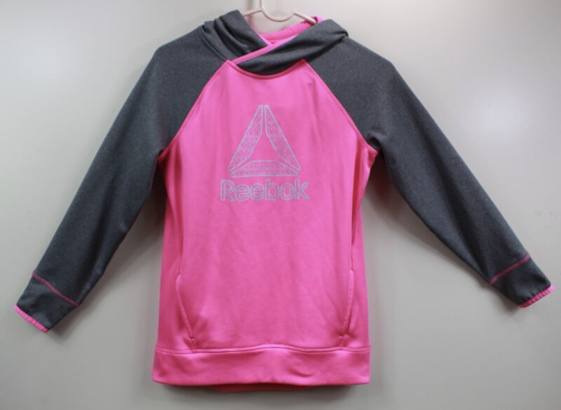Reebok Girls Youth Size Large Pink And Gray Hoodie Polyester