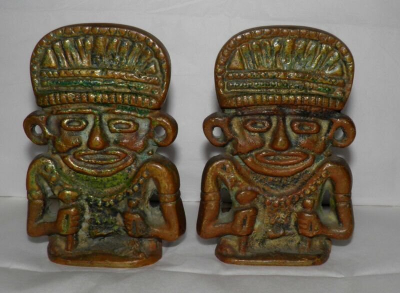 Vintage Cast Brass or Bronze TIKI Mayan Aztec Warriors Gods BOOKENDS Hawaiiana
