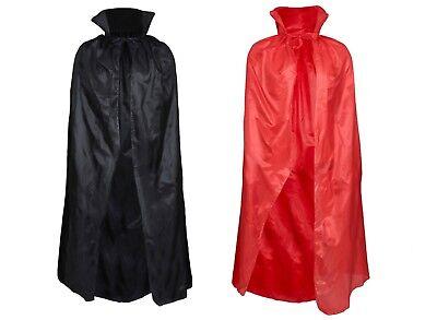 HALLOWEEN VAMPIRE CAPE ADULT BLACK RED DRACULA FANCY DRESS COSTUME PARTY - Black Cloaks