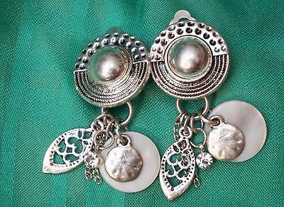 Vintage Clip On Mother Of Pearl Dangle Filigree Silver Tone Rhinestone Earrings