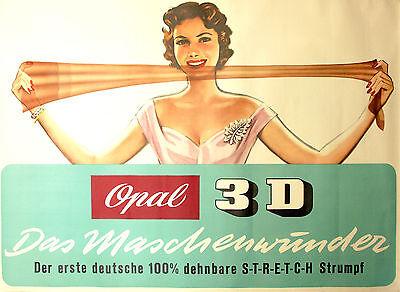 XXL Original Werbeplakat,OPAL 3 D,Maschenwunder, 1950er,E. Baudrexel,116,5 x 83