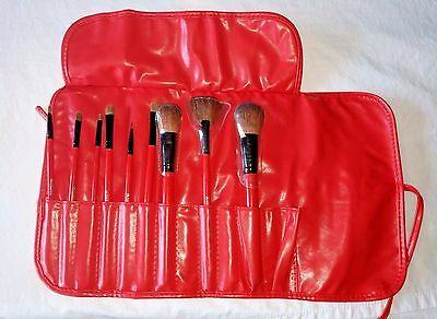 SHANY Cosmetics Professional Brush Set Leather Look Red Pouch 9 Count Makeup