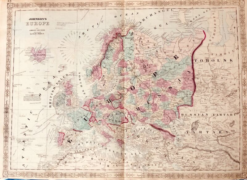 Beautiful Hand colored map of Europe Johnson and Ward 1863