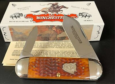 "1996 Winchester USA 29110BH 4"" Bison Shield Bone Elephant Toe Sunfish Knife NOS"