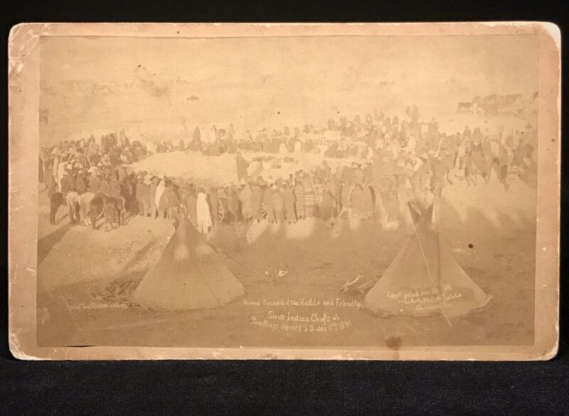 RARE CABINET PHOTO - PINE RIDGE AGENCY WOUNDED KNEE NATIVE AMERICAN HISTORICAL