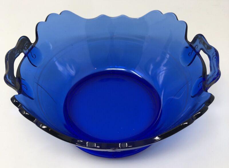 Vintage L.E. Smith Cobalt Blue Depression Glass Bowl Mt Pleasant 2 Handle Square