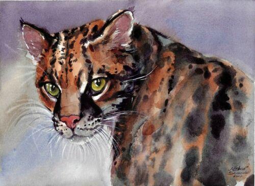 original drawing 18 x 24 cm 219LM art samovar watercolor cat ocelot Signed 2020