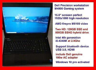Best Dell M4800 laptop i5-4340M @2.9Ghz 128GB SSD + 500GB SSHD loaded Windows 10