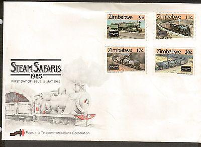 Zimbabwe Scott 487 - 490 - Steam Safaris Trains. FDC. #02 ZIM487FDC